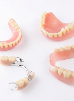 Partial denture on tooth model