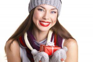 happy woman gift christmas