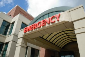 emergency room entrance red letters